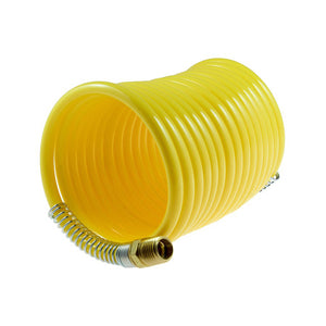 "Coilhose Pneumatics N14-12 Nylon Coil, 1/4"" x 12', 1/4"" NPT Rigid Fittings, Yellow"
