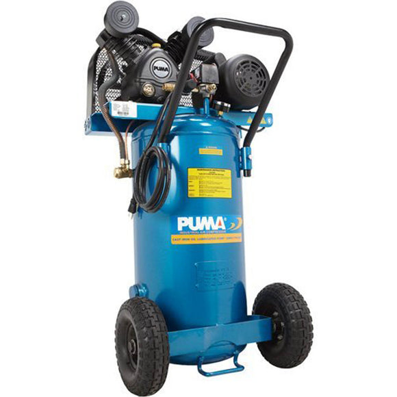 Puma Industries PK5020VP Air Compressor, Professional/Commercial Single Stage Belt Drive Series, 2 hp Running, 135 Maximum psi, 115/1V/Phase, 20 gal, 183 lb.