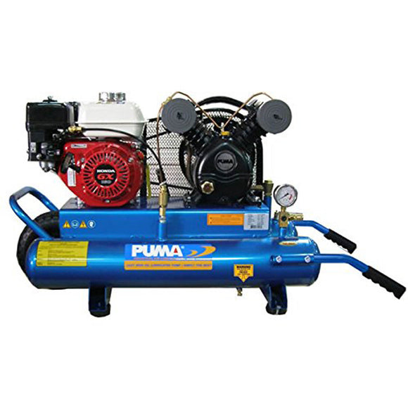Puma Industries PUK5508G Wheelbarrow Style Contractor Air Compressor, 8 gal, 5.5 hp Honda Engine