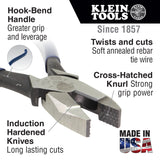 Klein Tools D2000-9ST High Leverage Side Cutting Plier Knurled Jaw, Hook Bend