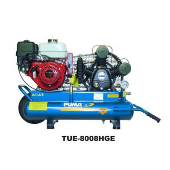 Puma Industries TUE8008HGE 8-HP 8-Gallon Gas Two-Stage Wheelbarrow Air Compressor w/ Electric Start Honda Engine