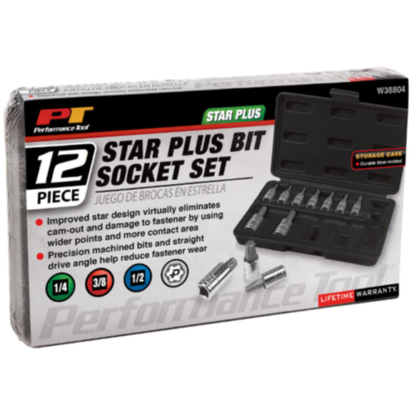 Performance Tool W38804 12pc Star Plus Bit Socket Set