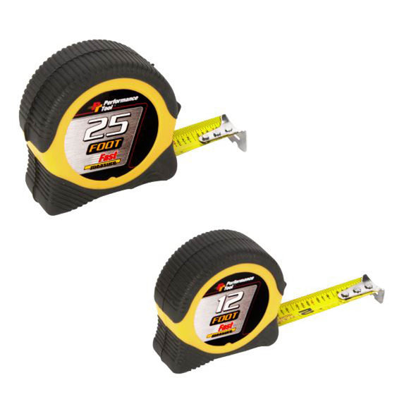 Performance Tool W5025BP Combo Measure Tape, 12 And 25 Ft L