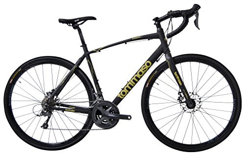 Tommaso Sterrata Shimano Claris R2000 Gravel Adventure Bike With Disc Brakes And Carbon Fork Perfect For Road Or Dirt Trail Touring, Matte Black - Medum
