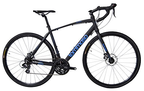 Tommaso Sentiero Shimano Tourney Gravel Adventure Bike With Disc Brakes Perfect For Road Or Dirt Trail Touring, Matte Black - Large