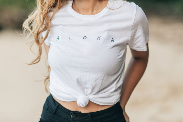 Aloha S/S Tee in White with Black