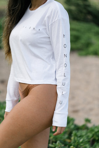 Honolulu Long Sleeve Crop Tee White