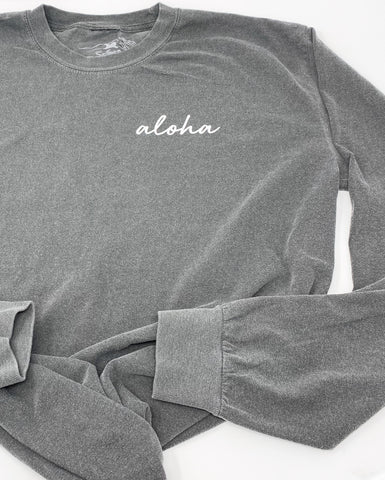 Aloha Long Sleeve Tee in Graphite