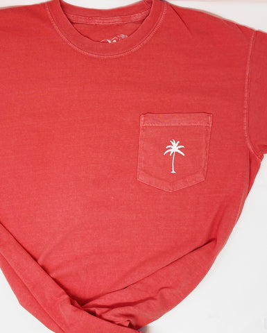 Palm Pocket Tee in Watermelon