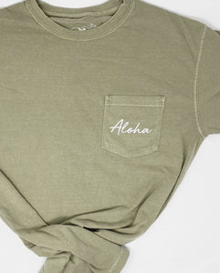 Aloha Pocket Tee in Khaki
