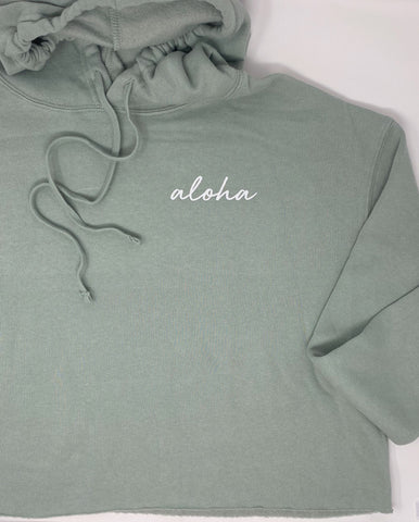 Aloha Script Cropped Hoodie in Sage