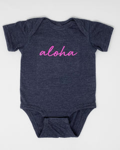 Aloha Onesie in Heather Navy