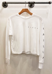 Kailua Long Sleeve Crop Tee White