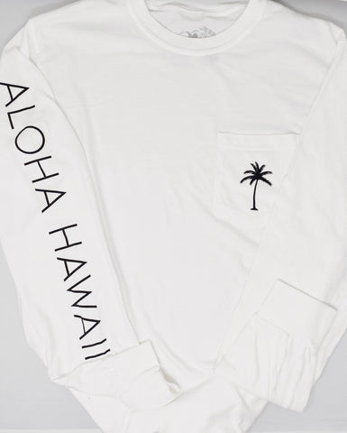 Aloha Hawaii Long Sleeve Tee in White