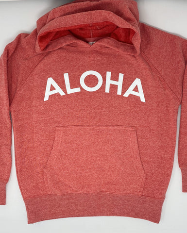 Kids Aloha Hoodie in Heather Pomegranate
