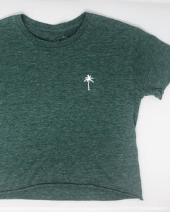 Palm Cropped Tee in Pine Heather