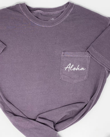 Aloha Pocket Tee in Wine