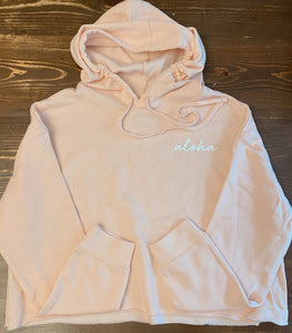 Aloha Script Cropped Hoodie in Blush