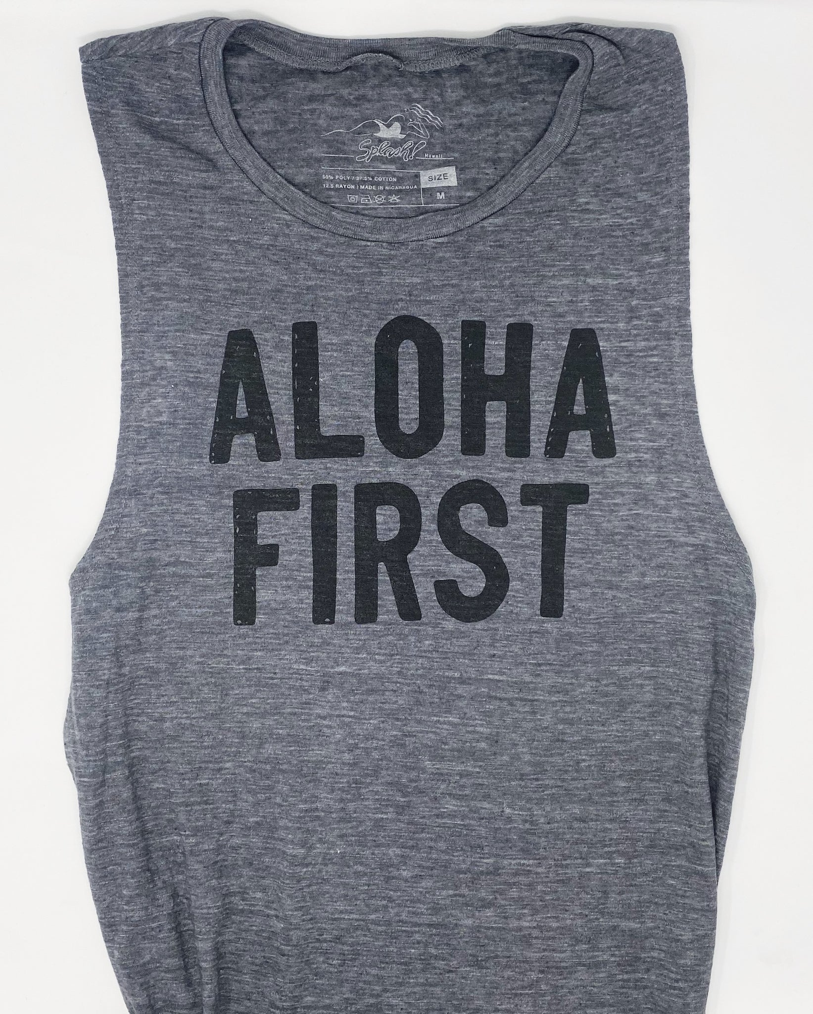 Aloha First Muscle Tank Charcoal