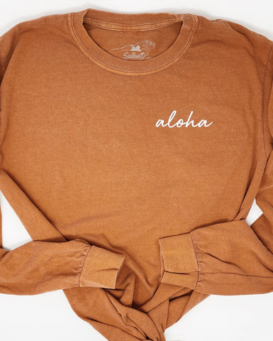 Aloha Long Sleeve Tee in Yam