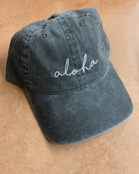 Aloha Hat in Charcoal with White