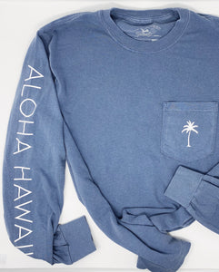 Aloha Hawaii Long Sleeve in Blue Jean