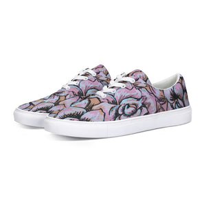 Pink Flower Lace Up Canvas Shoe