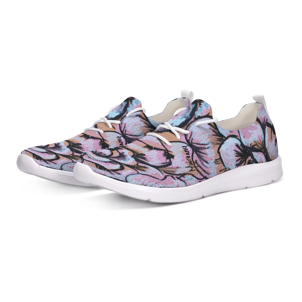 Pink Flower Lace Up Flyknit Shoe