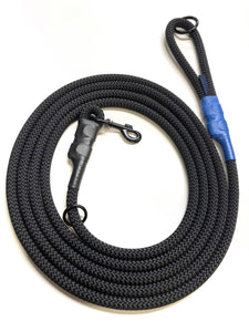 fifteen foot tracking lead for k9 training and law enforcement use. Made from mill-spec rope and heavy duty fittings. Also good for long dog leash situations