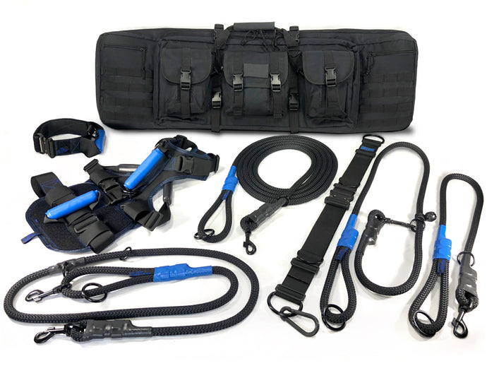the trow away dogs gear full gun case comes with it all, patrol vest, 4 foot straight lead, 6 foot patrol lead, 6 foot slip lead, 15 foot tracking lead, 2