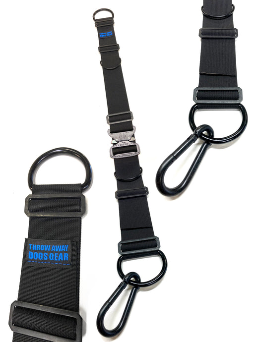 The throw away dogs gear tach 1 heavy duty hands free restraint system is great for training, walking, hiking, and service dogs. It allows you to use your upper body to handle the weight of your dog while leaving your arms and hands stress free.