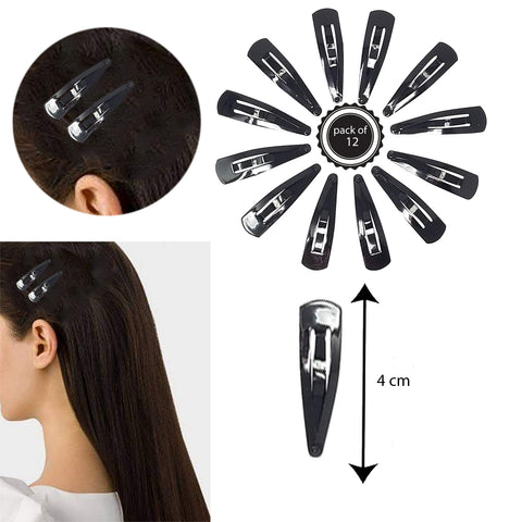 Evogirl TicTac Pins Everyday Use Triangular Metal 4 cm Hair Clip Good Grip Glossy Black