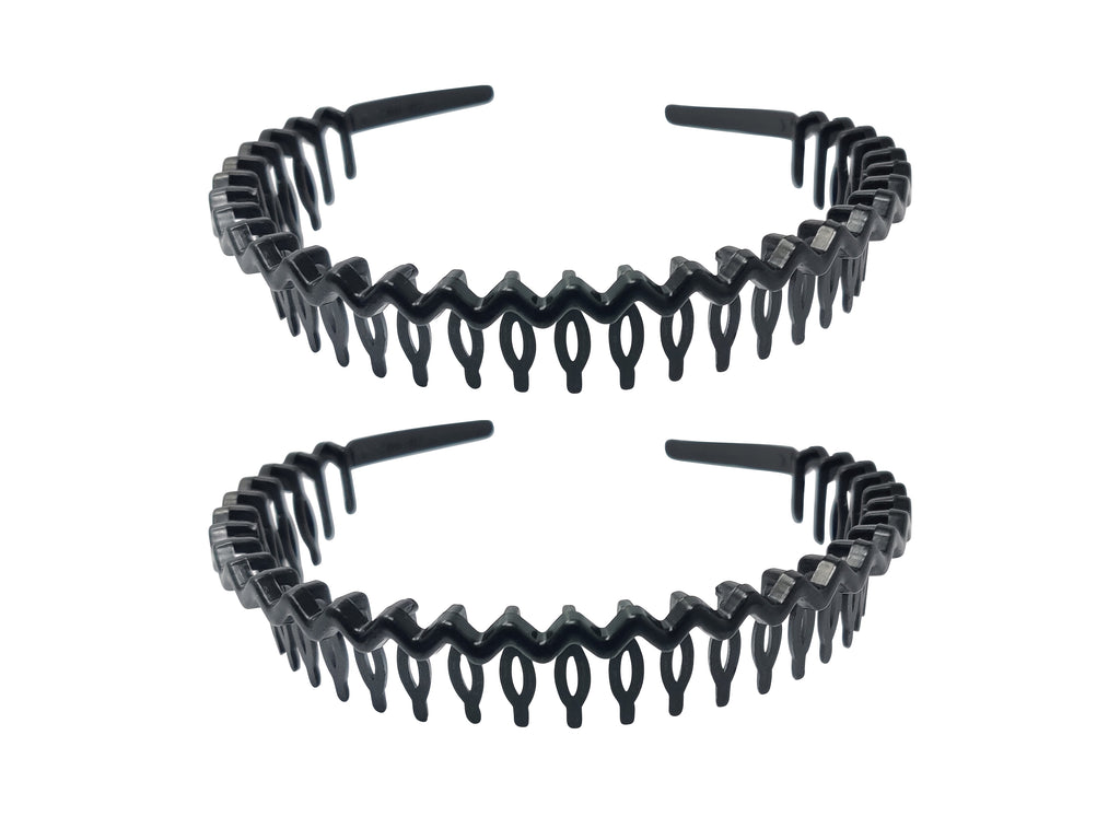 EVOGIRL Unisex Headband PlasticZigZag Jaws Grip Hairband Sports Tooth Bands Black