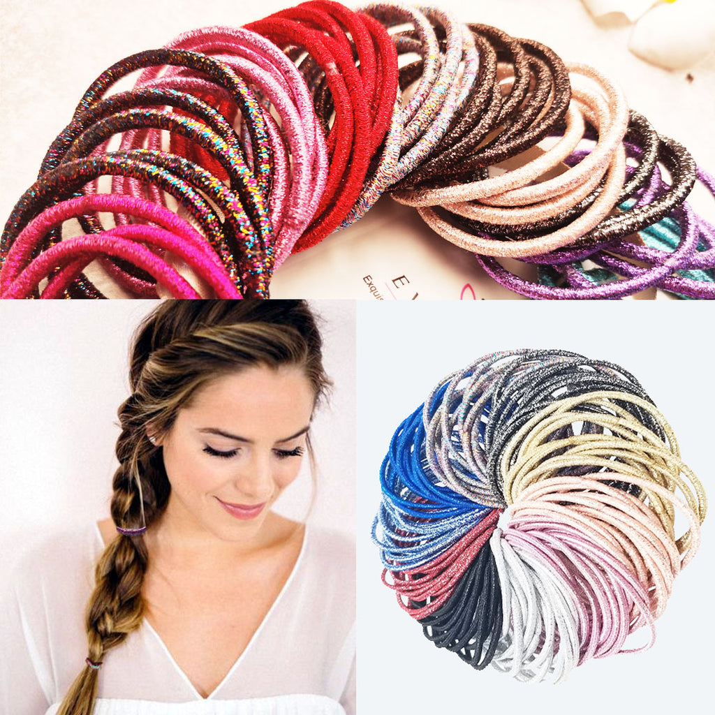EVOGIRL Evolution Rubber Thick Shiny Hair Bands/Ties for Women/Girls (Multicolour, Pack of 100)