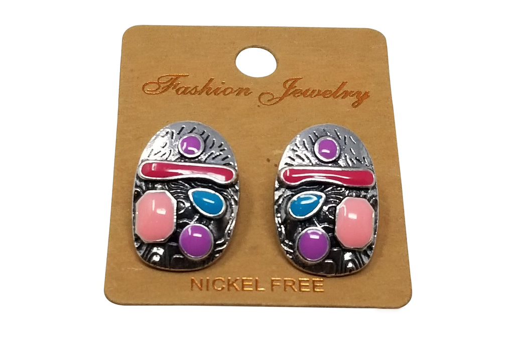 Evogirl Evogirl Earrings Oval Shaped Oxidized Multicolor Vintage, Small, For Women/rb671