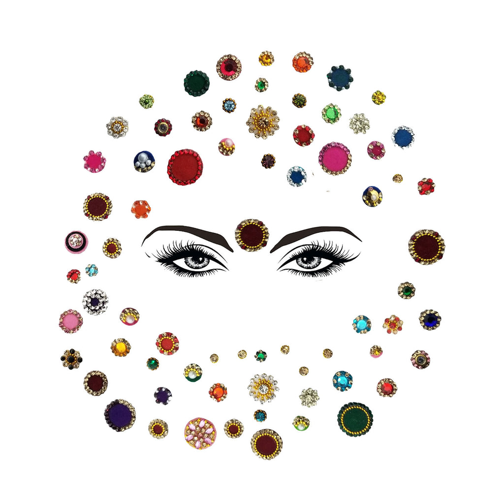 Evogirl Bindi Dimond Mix & Match High Quality Designer Combo of Different Size Multicolored, sml,med,lrg, For Traditional Wear/Women (Pack Of 72)…