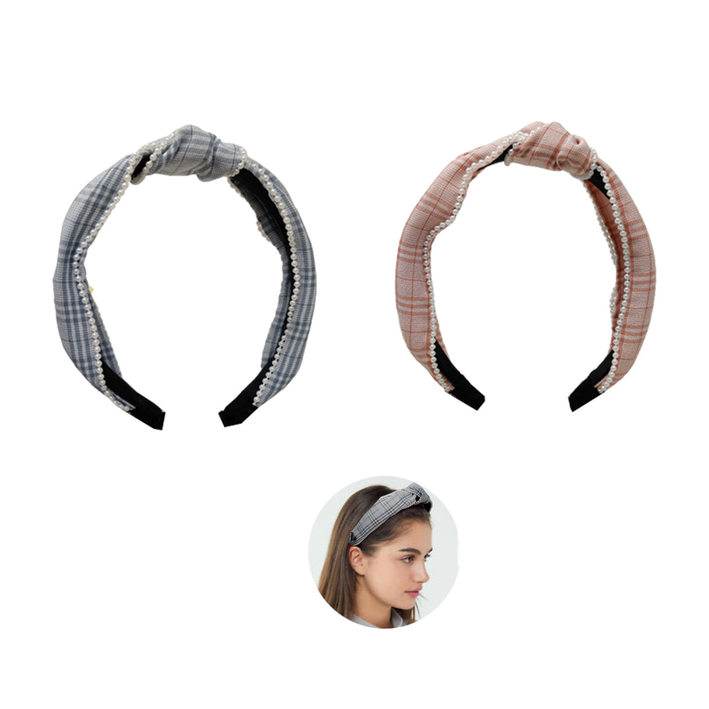 Evogirl Head Bands Pearl Bordered with Checkers Print Twisted Knot Fabric Hair BandPeach, Blue,Large, for Women/Girls