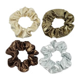 Evogirl Evogirl Scrunchies Holographic Shimmer Shade Hair Copper,Silver,Gold,Metalic (Pack of 4)/rb1061