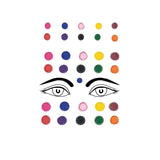Evogirl Bindi Multicolored Embossed Pearl Border Sequence Designer Evergreen Colors, med,large,xl, For Traditional Wear/Women (Pack Of 30)