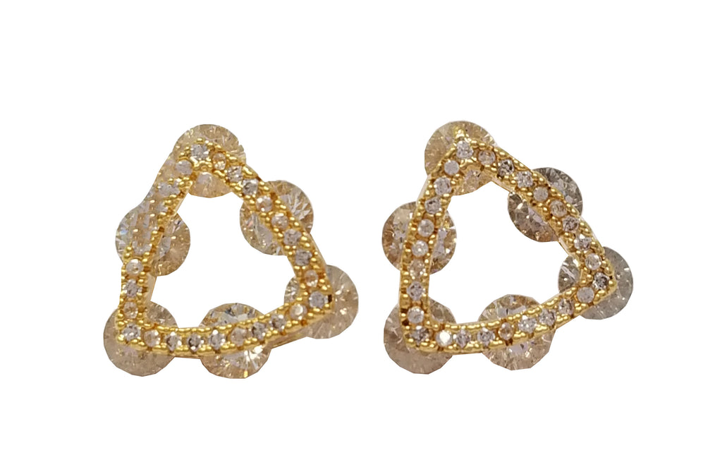 Evogirl Evogirl Earings Stone Stiangle Dimond Studded Tops Golden Plated For Women/rb1700