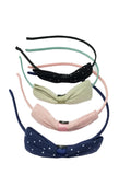 Evogirl Evogirl Hair Band Casual wear Polkadot Peach,Green.Blue,Black, Med, for Women (Pack of 4)/rb2010
