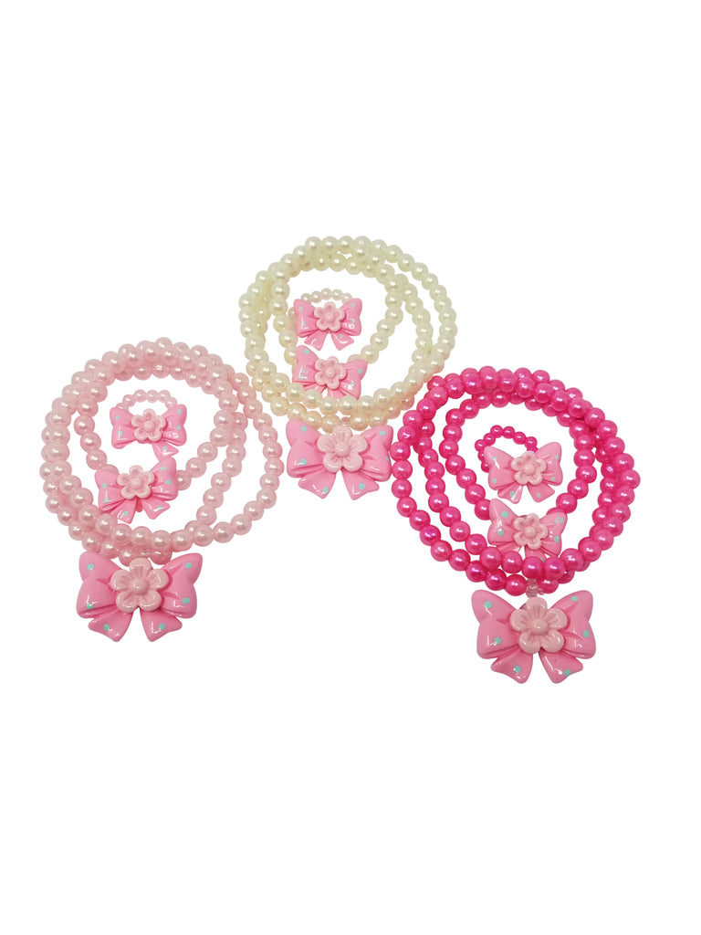 Evogirl Evogirl Necklace with Bracelate & Ring Bow Flower Kidswear Multicolored Small Size for Girls/rb1564