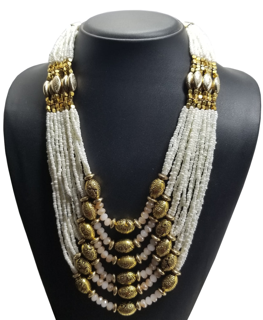 Evogirl Evogirl Necklace with Earings Oxodized Beads Ethnic Wear Shiny Pearl Chain Golden,Cream White Mala/rb1674new