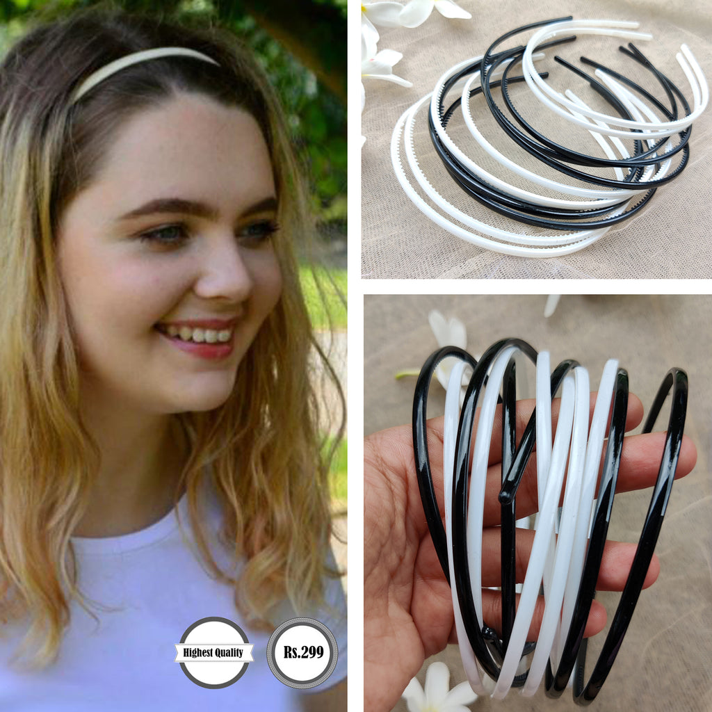 Evogirl Hair Band Combo of Black & White Colors XS, School Time, Dailyuse, Hair Band(Pack of 12)