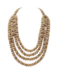 Evogirl Necklace Shiny Bids & Fabric Chain of 4 Self Designed Golden, Med, for Women
