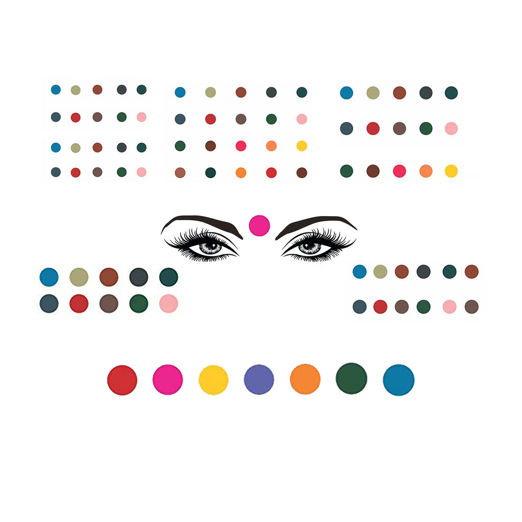 Evogirl Bindi Multicolored Value Combo Pack 6 Different Sizes Mix & Match with any Color Outfit, med to xl & jumbo size, For Traditional Wear/Women (Pack Of 120)
