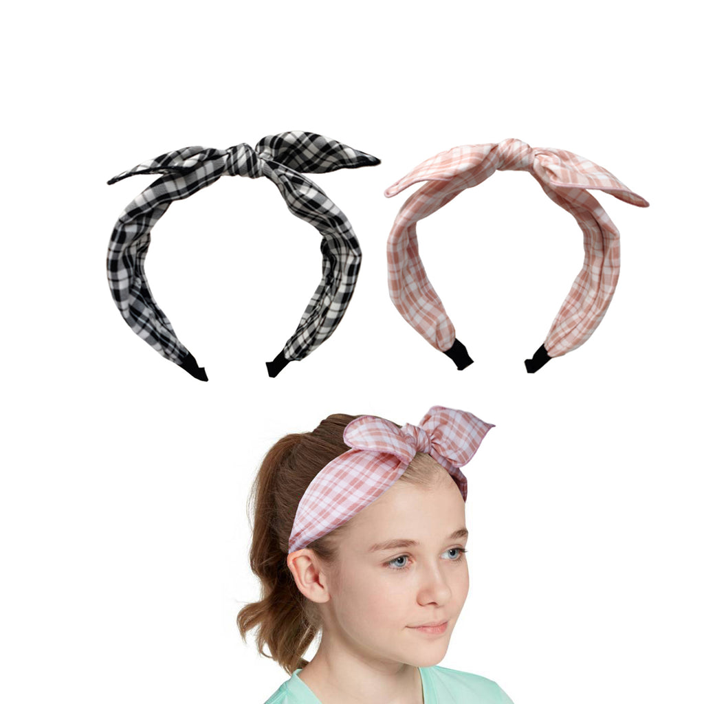 Evogirl Head Bands Checkers Print Twisted Knot Fabric Hair BandBlack, Pink,Large, for Women/Girls