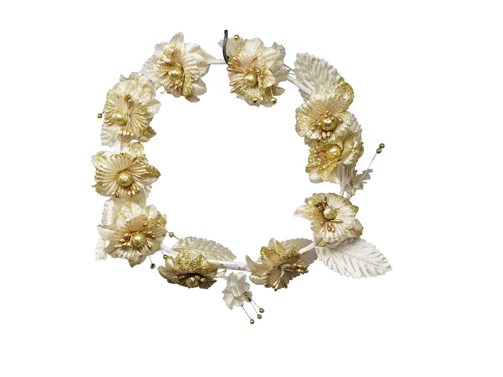 Evogirl Evogirl Tiara Rose Flower Full Cover Crown Sparkly Golden Petals Head Bands, Med/rb1599