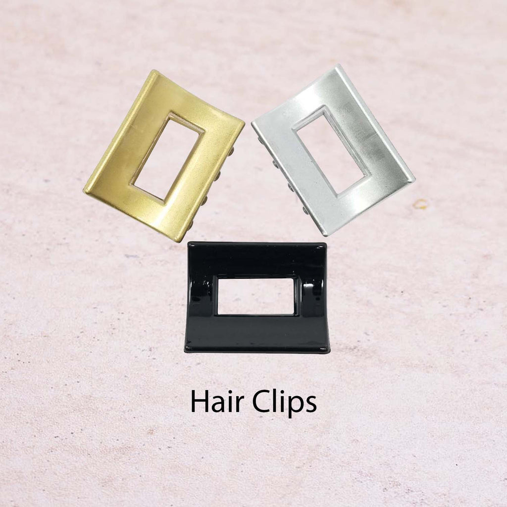 Evogirl Claw Clip Rectangle Border Shape Hair Butterfly No Slip Grip Black, Silver, Golden, Small