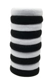 Evogirl Evogirl Rubberbands Schooltime Elastic Cotton Stretch Black & White (Pack of 10)/rb1055